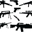 Stock Vector: Different weapons collection silhouette - vector