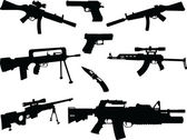 Different weapons collection silhouette - vector — Stock Vector