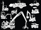 Construction machines 2 - vector — Stock Vector