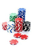 Stacks of poker chips on a white background — Stock Photo