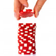 Stacks of poker chips  on a white background — Stok fotoğraf