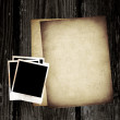 Vintage paper and photo on wood background — Stock Photo