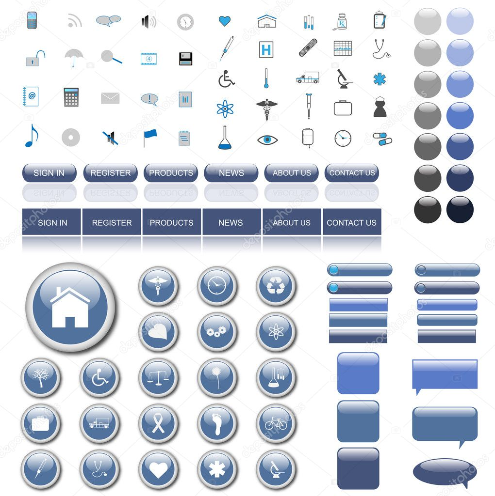 Colorful, blue web collection of many icons, buttons, bars and chat bubbles.  Stock Vector #3939130