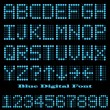 Blue Digital Font - Stock Vector