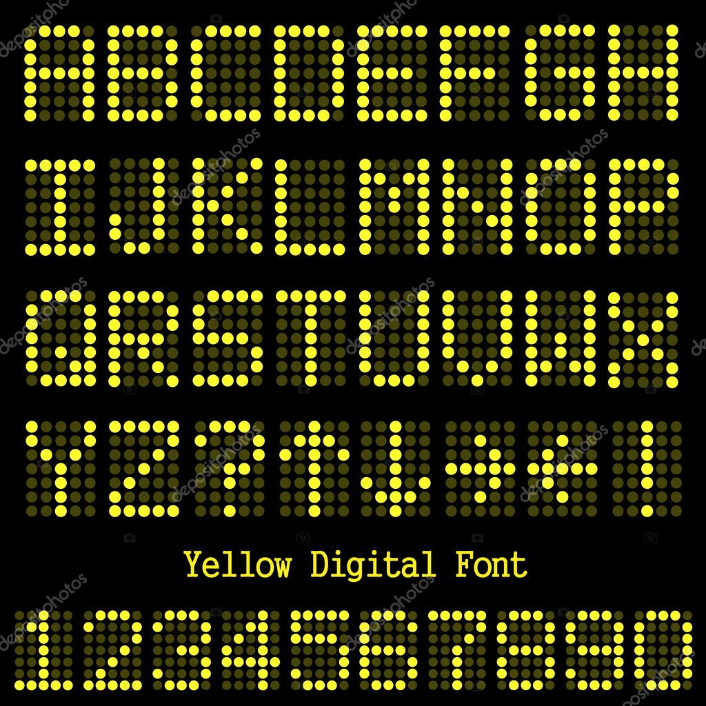 Yellow Digital Font — Stock Vector © nmarques74 #4259965