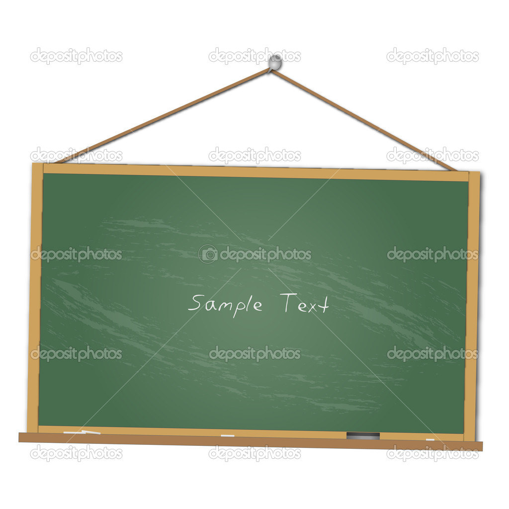 Image of a chalkboard hanging isolated on a white background. — Stock Vector #4507648