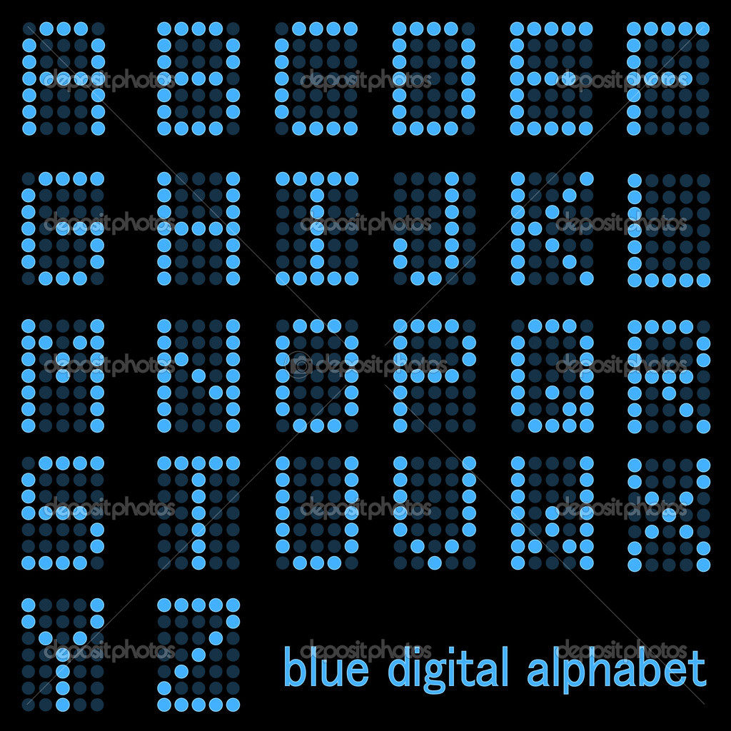 Image of a the alphabet in a blue digital font isolated on a dark background. — Stock Vector #4562475