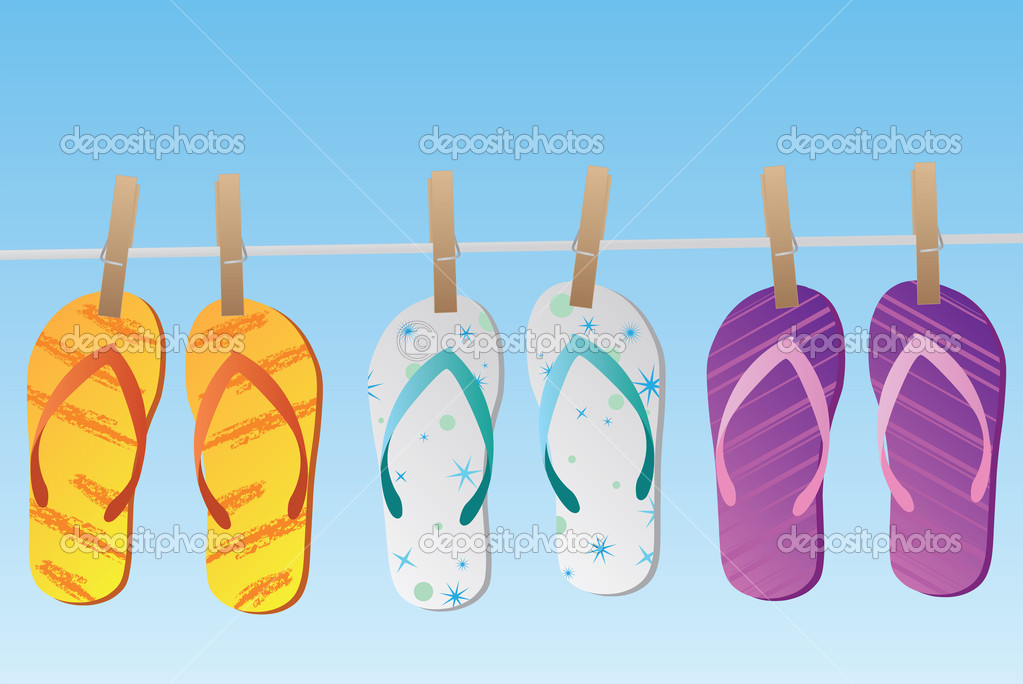 Image of various colorful flip flops hanging on a clothes line isolated on a blue sky background. — Stock Vector #4562543