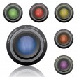 Colorful Camera Lenses — Stock Vector