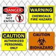 Danger and Caution Signs — Stock Vector