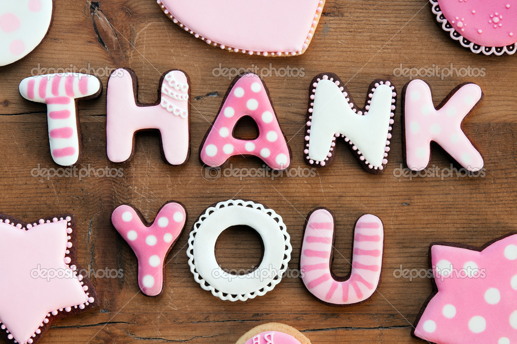 Cookies with a thank you message — Stock Photo #5035914