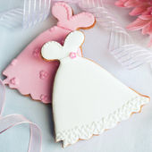 Wedding dress cookies — Stok fotoğraf