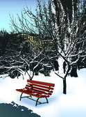 Bench in winter park — Stock Vector
