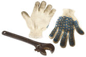 Rękawice klucz i pracy — Zdjęcie stockowe