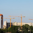 Cranes and building on a background blue sky - Stock Photo