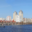 Kiev skyline and reflection on the river Dnipro — Stock Photo
