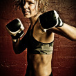 Female fighter - Stock Photo