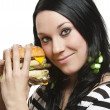 Burger girl - Stock Photo