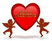Valentines day heart and cupids — Stock Photo