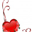 Valentine red heart and ribbons — Stock Photo