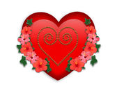 Valentine red heart and flowers — Stock Photo