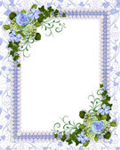 Blue floral invitation template — Stock Photo