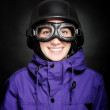 Girl with helmet and goggles — Stock Photo