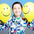 Girl with two balloons — Foto Stock