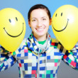 Girl with two balloons — Stock Photo