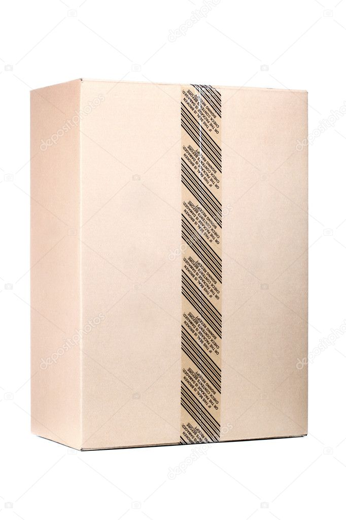 Classic sealed cardboard isolated on white background — Stock Photo #4555434