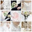 Collage of nine wedding photos — Stock Photo