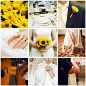 Collage of nine wedding photos — Photo