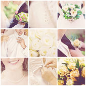 Collage of nine wedding photos — Stock fotografie