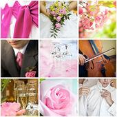 Koláž z devíti svatebních fotografií — Stock fotografie