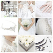 Collage of nine wedding photos — 图库照片