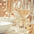 Table set for a wedding dinner — Stock Photo