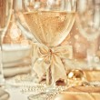 Beautiful gold place setting for Christmas — Stok fotoğraf