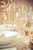 Beautiful gold place setting for Christmas — Stock Photo