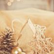 Decorative gold christmas ornament - 图库照片