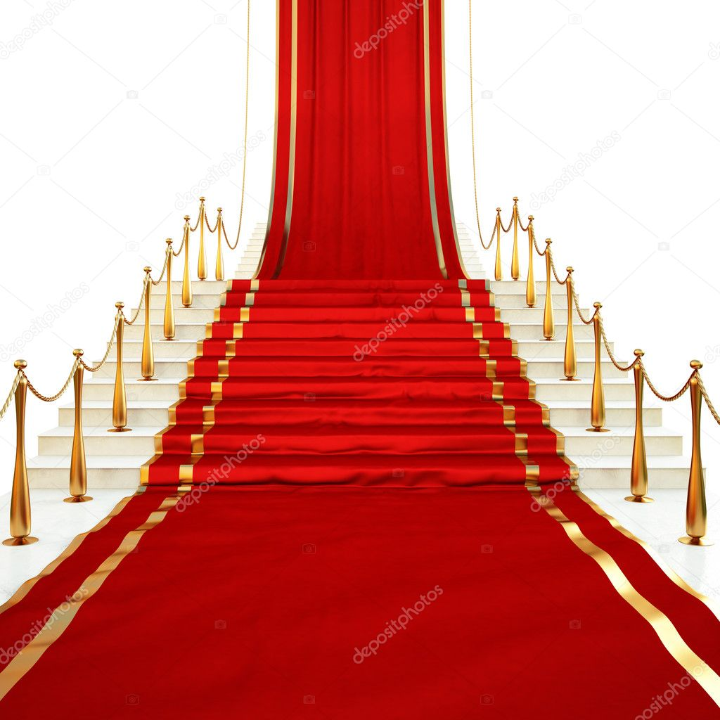 Red carpet to the stairs lined with gold stanchions on a white background — Stock Photo #4296338