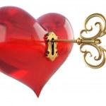 Hearts key — Stock Photo