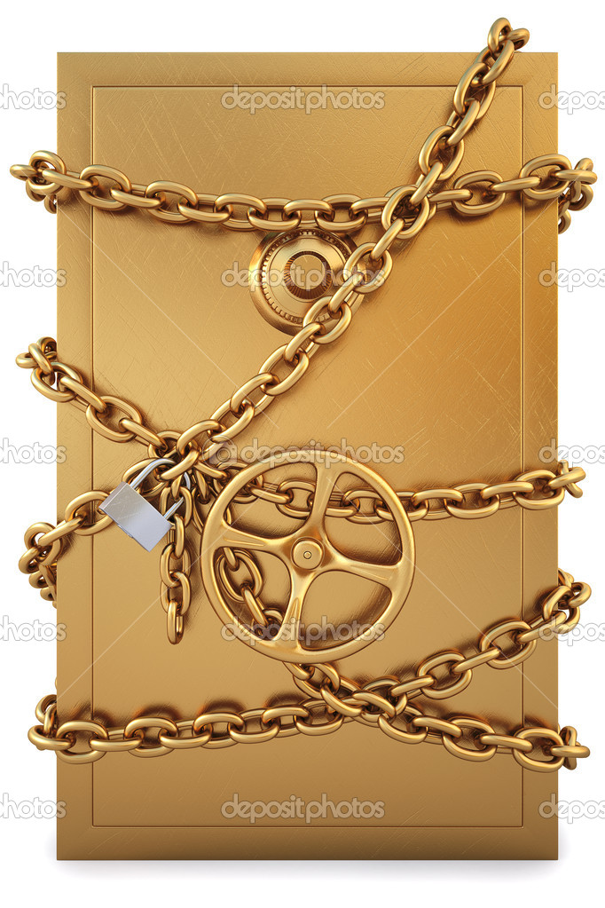 Golden Safe clad in gold chain with a lock. isolated on white. with clipping path. — Stock Photo #4695935