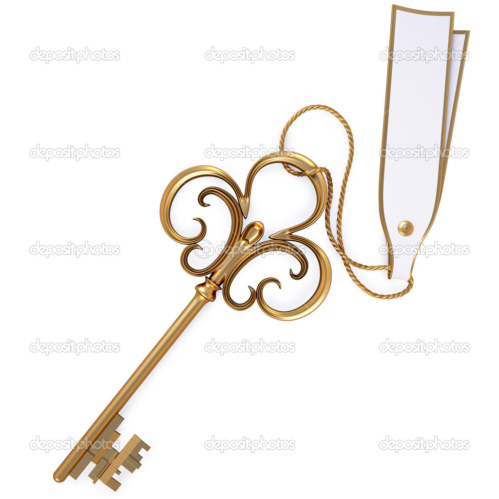 Antique golden key with blank card. isolated on white. with clipping path. — Stock Photo #4822094