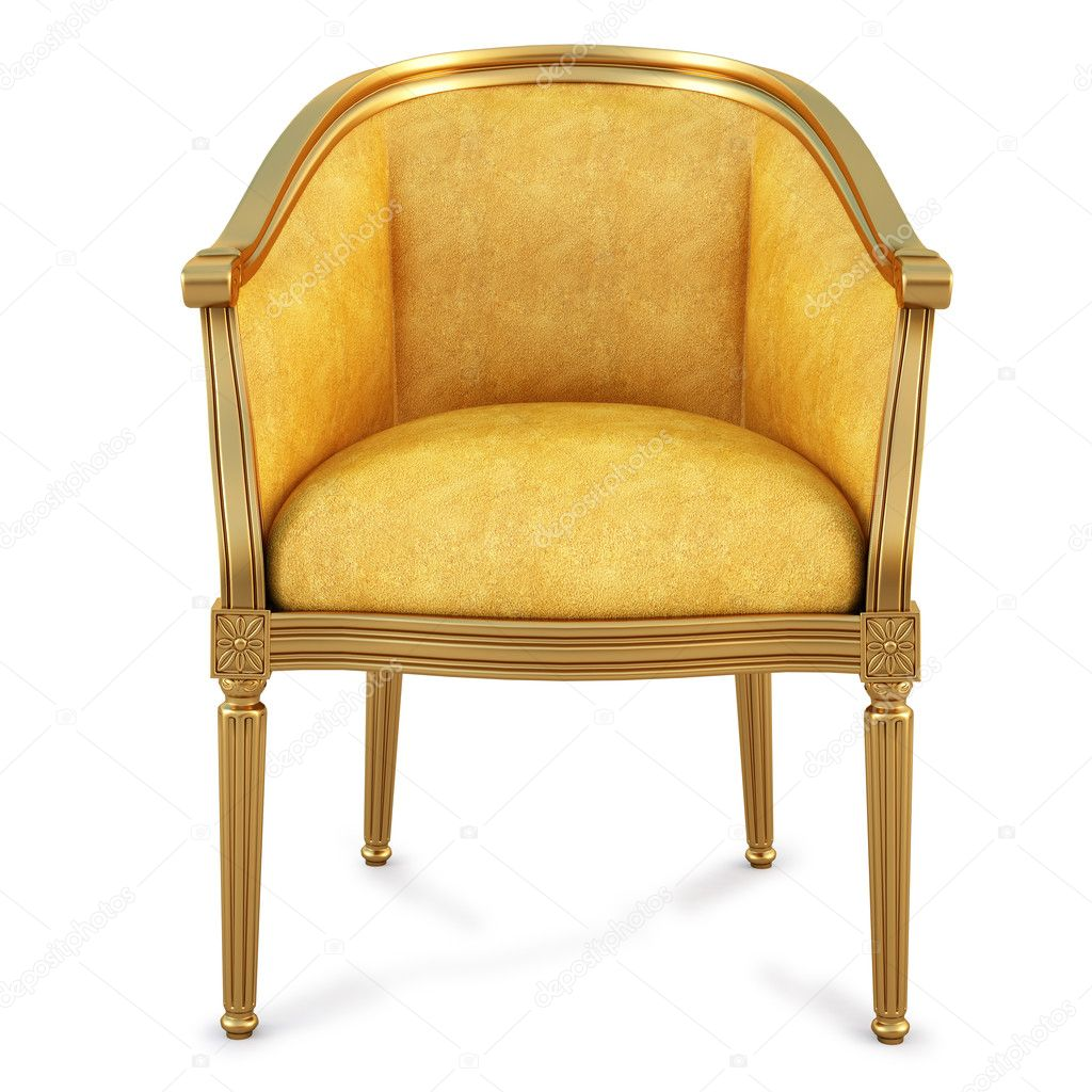 Golden chair with yellow skin. isolated on white. with clipping path. — Stock Photo #4856180