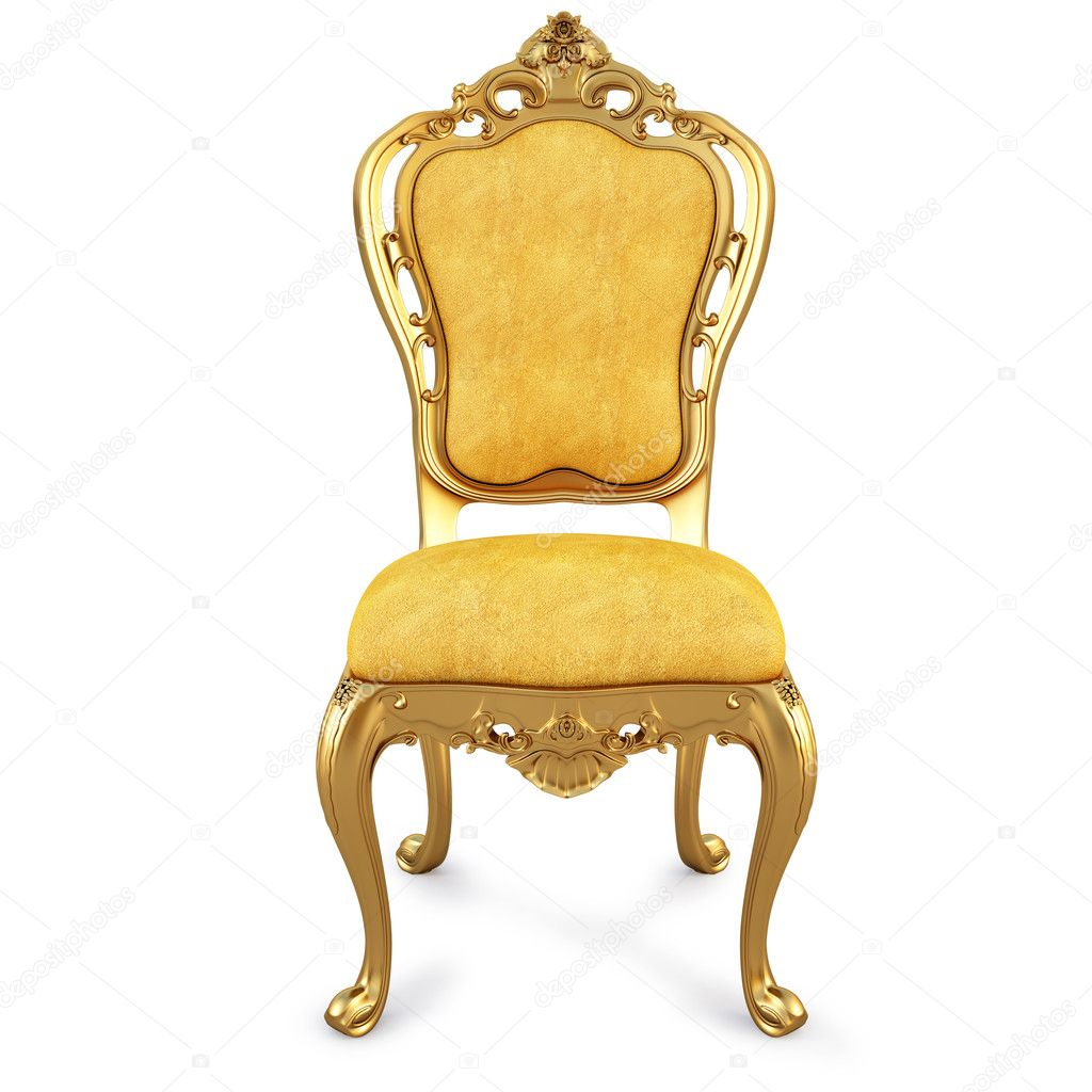 Golden chair with yellow skin. isolated on white. with clipping path. — Stock Photo #4856199