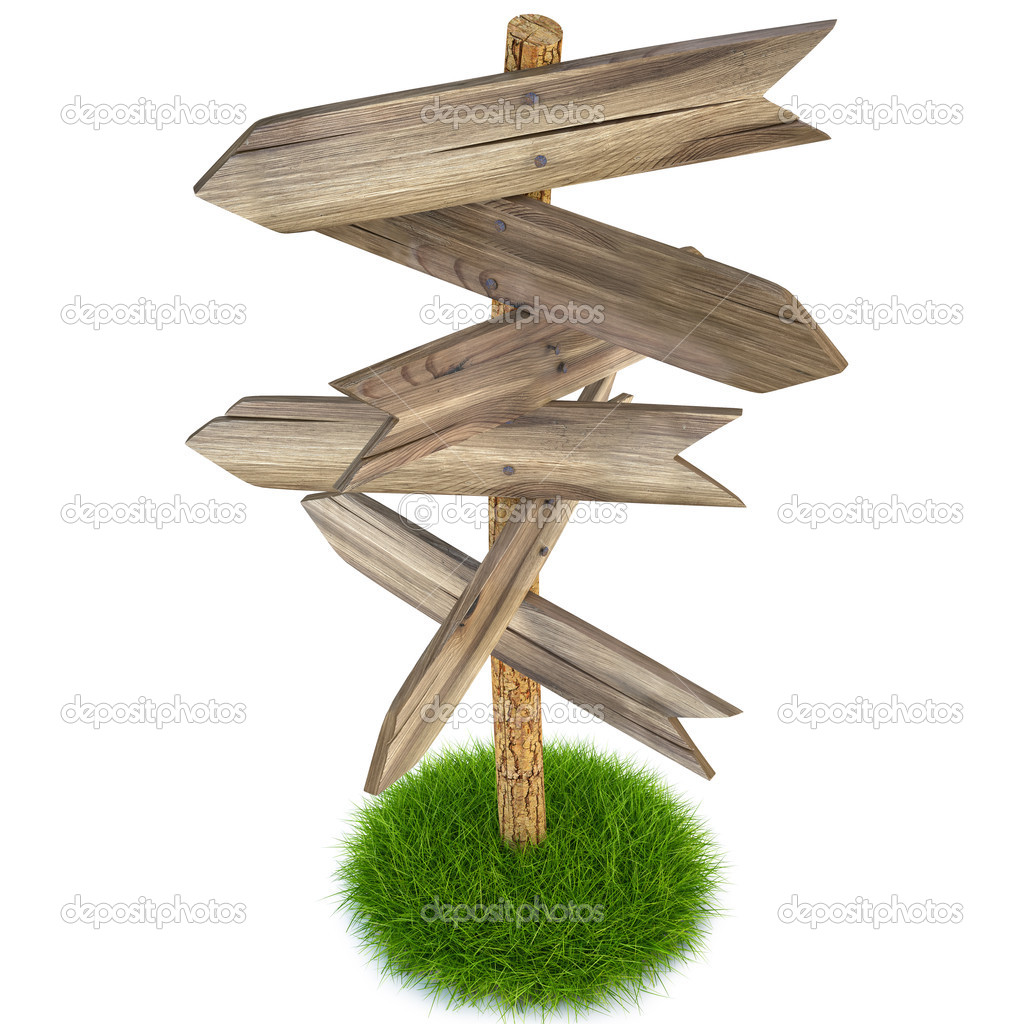 Old wooden arrow on the grass isolated on white including clipping path  Stock Photo #5274625