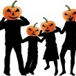 Halloween - silhouette of a family - Stock Vector