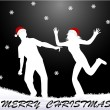 MERRY CHRISTMAS - white silhouettes — Stock Vector #4401901