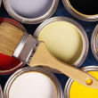 Colorful paint cans — Stock Photo