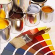 Painting, paint cans, paintbrusches and more! — Stock Photo #4753424